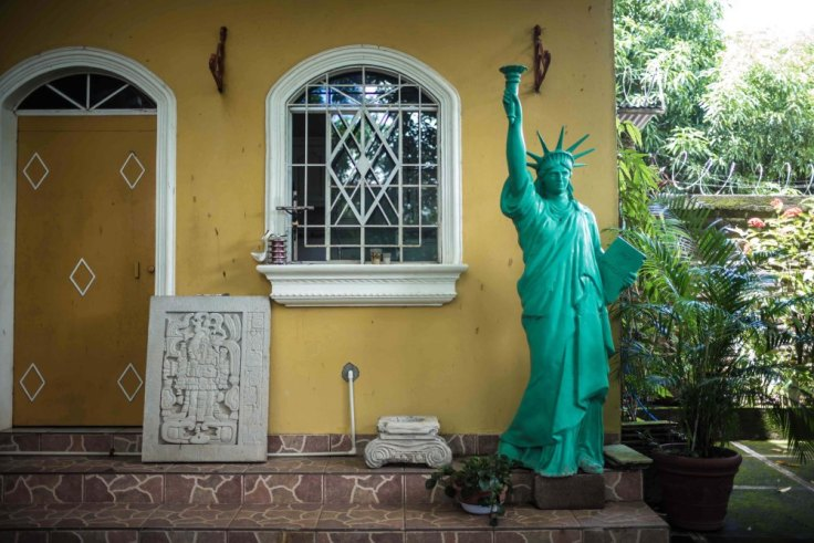 The liberty statue inside a home.