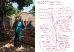 Trinidad Chávez in the courtyard of his childhood house in Intipucá. He lives in the U.S. for many years, and almost all his family is there. He came for the Intipucá Fest with his sons. Family tree handmade by the protagonist. In red, people who live in the U.S.' names, and in blue, the ones living in El Salvador. February/ March, 2019. Intipucá, El Salvador.