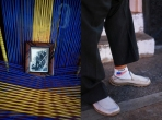 Omar Blanco's father in a picture, getting on the plane to the U.S. Intipucá, El Salvador. September, 2017. Detail of the socks of Alfredo Arias, one of the first migrants who undertook the trip to the USA in 1960. March 11, 2019.