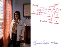 Claudia Rivera, doctor at her work in Santiago de María. She is the director of the hospital and went back to El Salvador after growing up in the U.S. Claudia Rivera left Intipucá as a child because of the 1980s war in El Salvador. She began a life in Maryland, Washington, with her parents and brothers, however, after graduating as a doctor and her children grew up she decided to return to El Salvador in order to help the health development of her people. (Right) Family tree handmade by her. In red, people who live in the US' names, and in blue, the ones living in El Salvador. Santiago de María, El Salvador. February 28, 2019.